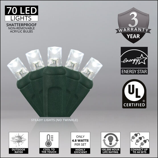 Wide Angle LED Mini Lights, Cool White, Green Wire