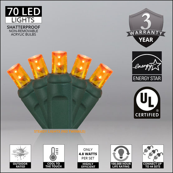 Wide Angle LED Mini Lights, Amber, Green Wire