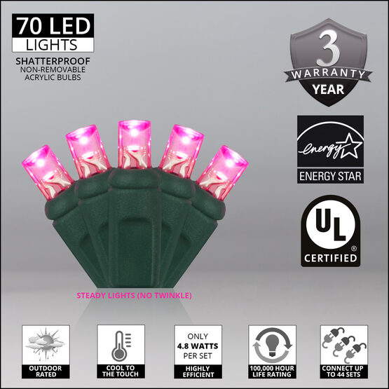 Wide Angle LED Mini Lights, Pink, Green Wire