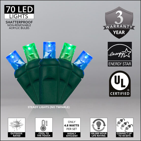 Wide Angle LED Mini Lights, Blue, Green, Green Wire