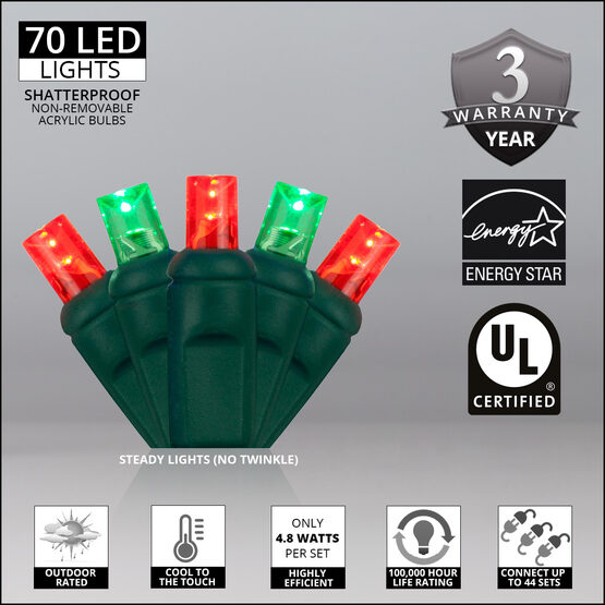 Wide Angle LED Mini Lights, Red, Green, Green Wire