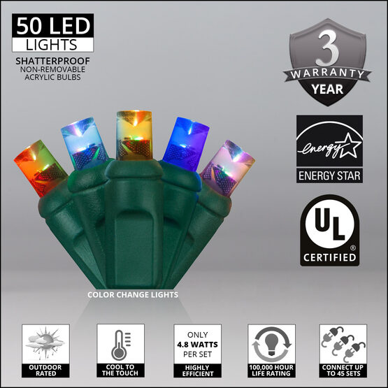 Wide Angle LED Mini Lights, Color Change, Green Wire