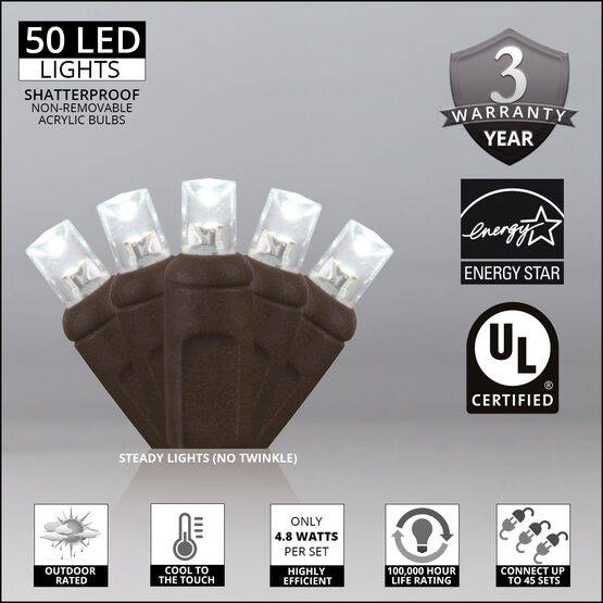 Wide Angle LED Mini Lights, Cool White, Brown Wire