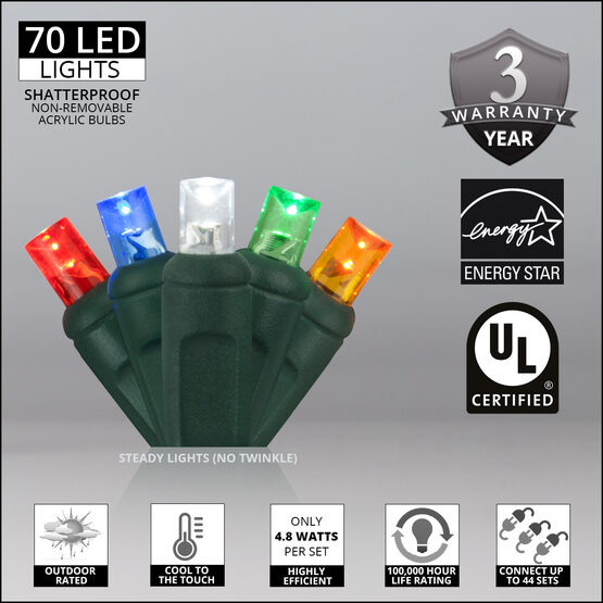 Wide Angle LED Mini Lights, Multicolor, Green Wire
