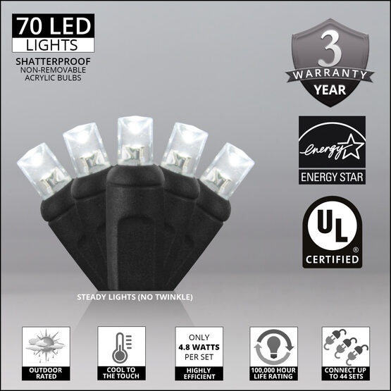 Wide Angle LED Mini Lights, Cool White, Black Wire