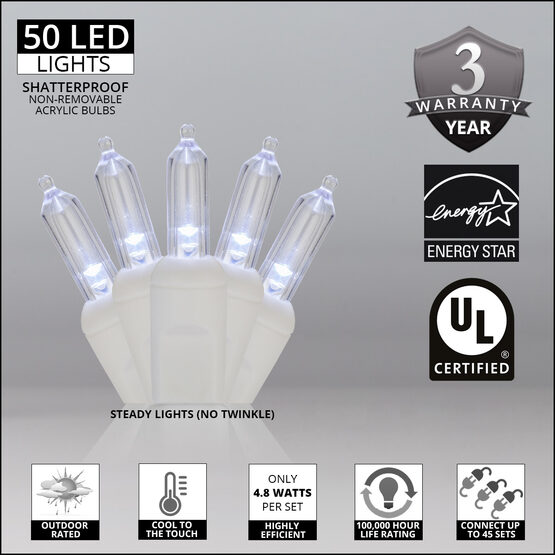 T5 Mini Christmas String Lights, Cool White, White Wire