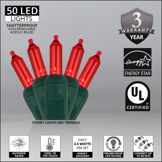 T5 Mini Christmas String Lights, Red, Green Wire