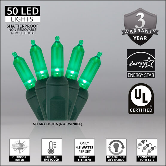 T5 Mini Christmas String Lights, Green, Green Wire