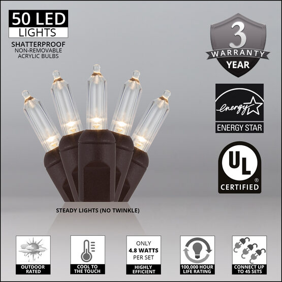 T5 Mini Christmas String Lights, Warm White, Brown Wire