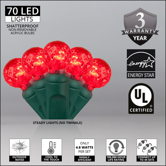Raspberry LED String Lights, Red, Green Wire