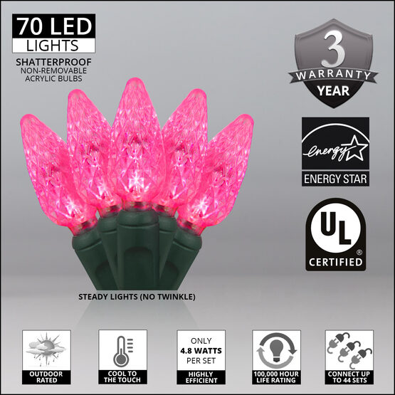 Strawberry LED String Lights, Pink, Green Wire