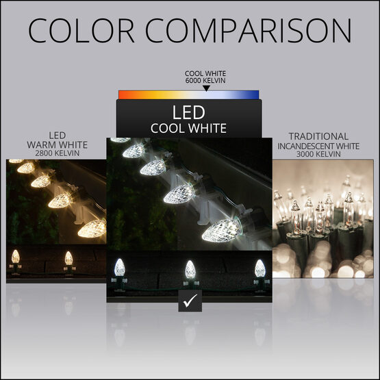 OptiCore C7 Commercial LED String Lights, Cool White Twinkle, 25 Lights, 25'