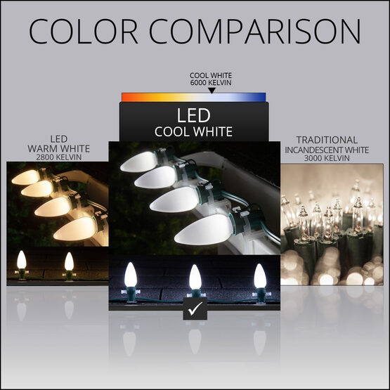 Smooth Opticore TM C9 Commercial LED String Lights, Cool White