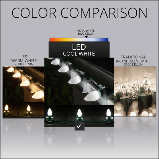 Smooth OptiCore C7 Commercial LED String Lights, Cool White, 25 Lights, 25'