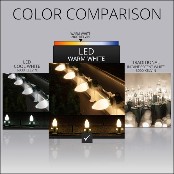 Smooth OptiCore C7 Commercial LED String Lights, Warm White, 25 Lights, 25'