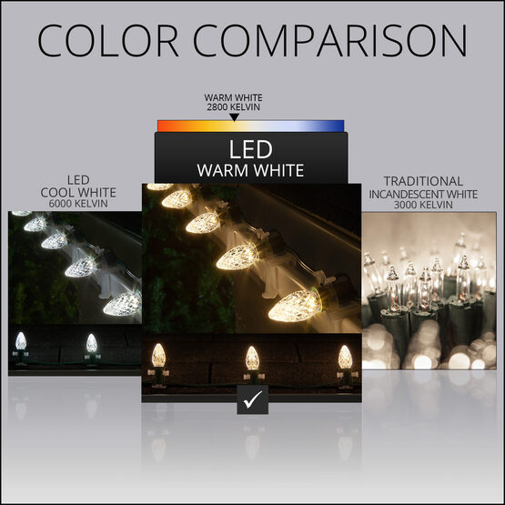 Opticore TM C7 Commercial LED String Lights, Warm White Twinkle