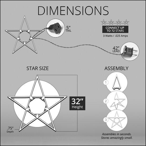 "32"" LED 5 Point Folding Star, Warm White Lights"