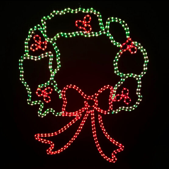 """44"""" Large Christmas Wreath Motif, Red and Green Lights"""