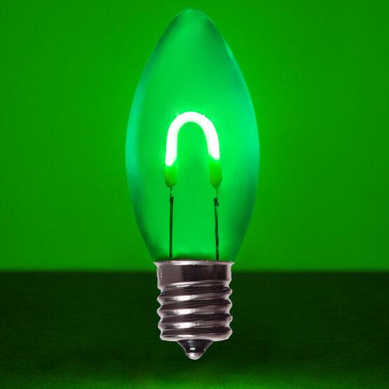C9 Shatterproof FlexFilament TM Vintage LED Light Bulb, Green