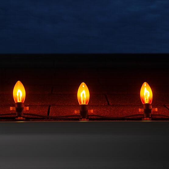 C9 Shatterproof FlexFilament Vintage LED Light Bulb, Amber / Orange