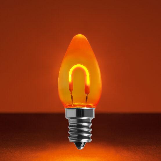 C7 Shatterproof FlexFilament Vintage LED Light Bulb, Amber / Orange
