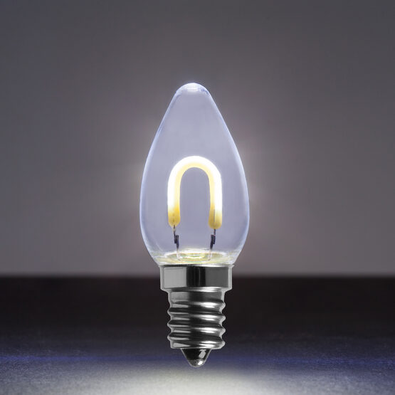 C7 Shatterproof FlexFilament Vintage LED Light Bulb, Cool White
