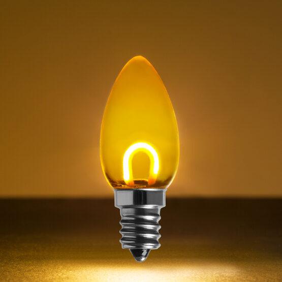 C7 Shatterproof FlexFilament Vintage LED Light Bulb, Gold