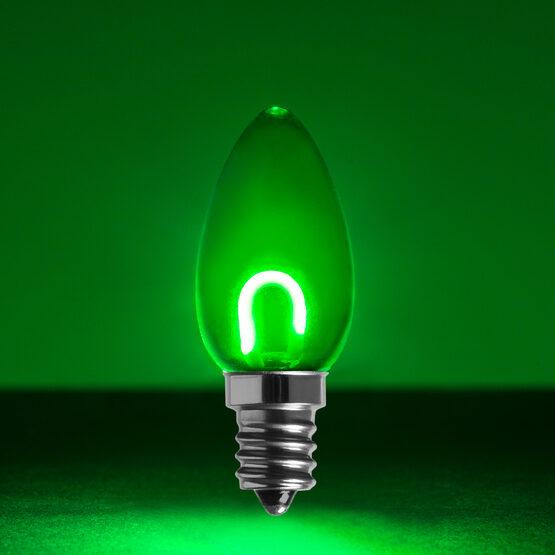 C7 Shatterproof FlexFilament Vintage LED Light Bulb, Green