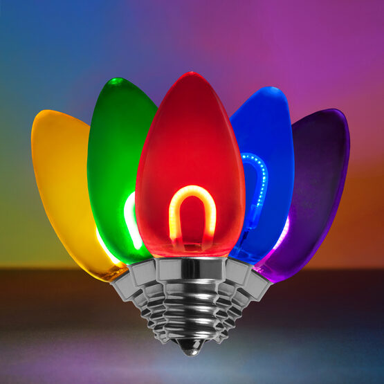 C7 Shatterproof FlexFilament Vintage LED Light Bulb, Multicolor
