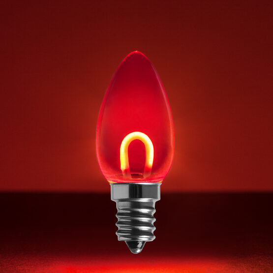 C7 Shatterproof FlexFilament TM Vintage LED Light Bulb, Red