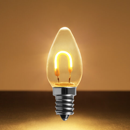 C7 Shatterproof FlexFilament TM Vintage LED Light Bulb, Warm White