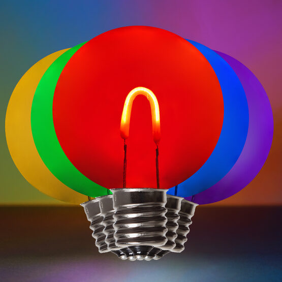 G50 Shatterproof FlexFilament TM Vintage LED Light Bulb, Multicolor, E17 Base