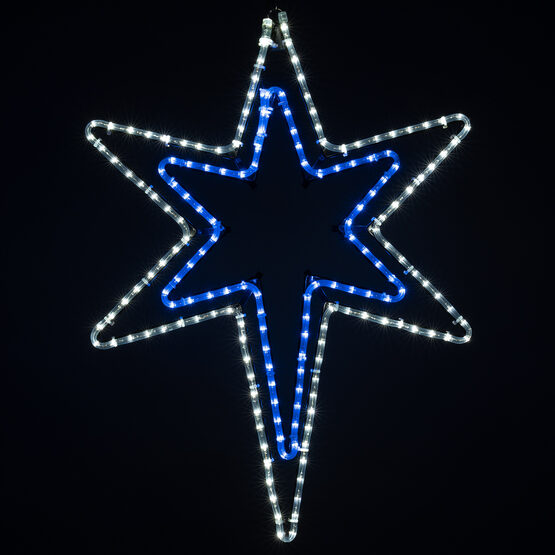 LED Bethlehem Star With A Blue Center, Blue and White Lights