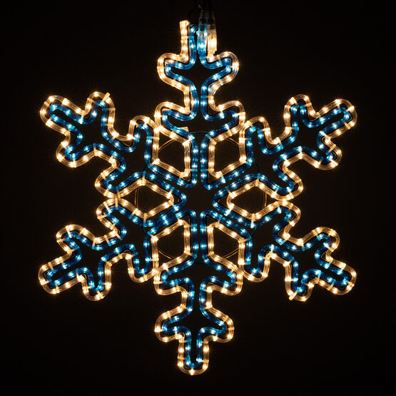 30 Point Snowflake with Controller, Blue and Clear Lights