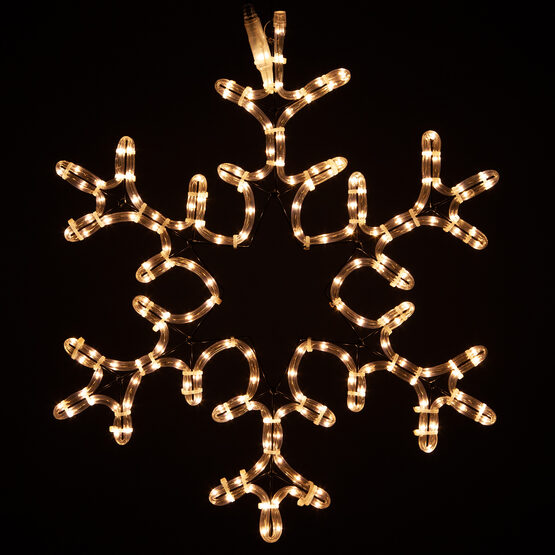 30 Point Star Center Snowflake, Clear Lights