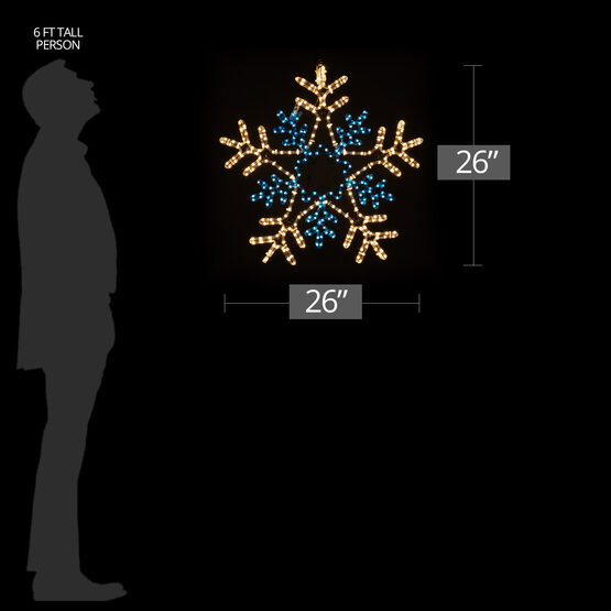 50 Point Double Star Center Snowflake, Blue and Clear Lights