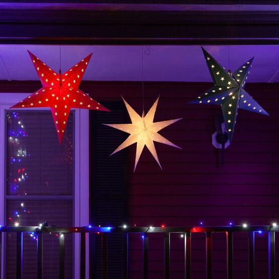White Aurora Superstar TM 7 Point Star Lantern, Fold-Flat, LED Lights