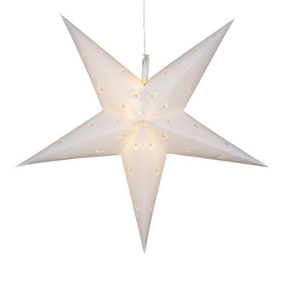 "18"" White Aurora Superstar TM 5 Point Star Lantern, Fold-Flat, LED Lights"