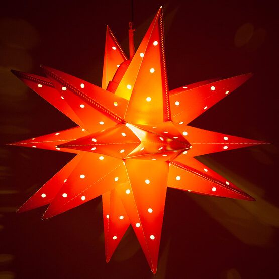 Red Aurora Superstar TM Folding Star Lantern, Fold-Flat, LED Lights