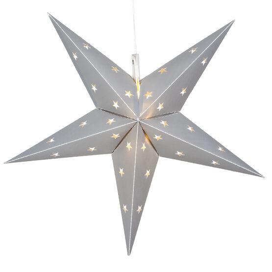 Silver Aurora Superstar TM 5 Point Star Lantern, Fold-Flat, LED Lights