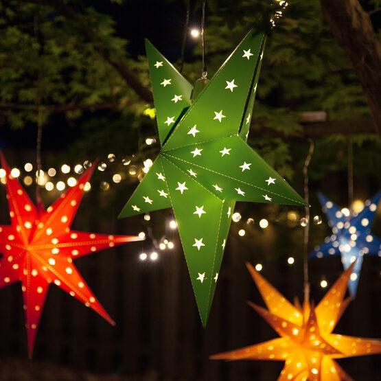"18"" Green Aurora Superstar TM 5 Point Star Lantern, Fold-Flat, LED Lights"