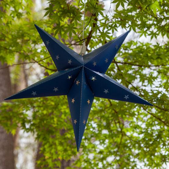 Blue Aurora Superstar TM 5 Point Star Lantern, Fold-Flat, LED Lights