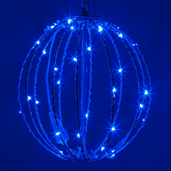 "8"" Fairy Light Ball, Fold Flat Blue Frame, Blue LED"