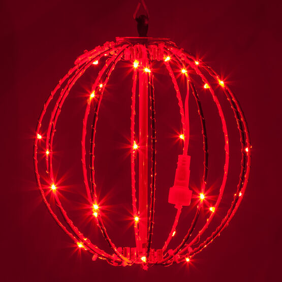 "8"" Fairy Light Ball, Fold Flat Red Frame, Red LED"
