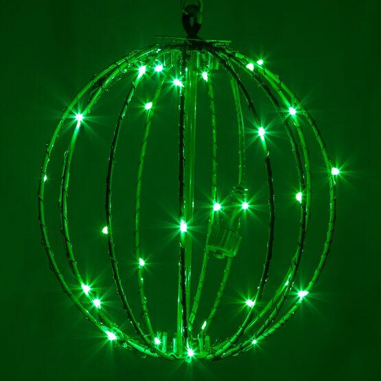 """8"""" Fairy Light Ball, Fold Flat Green Frame, Green LED"""