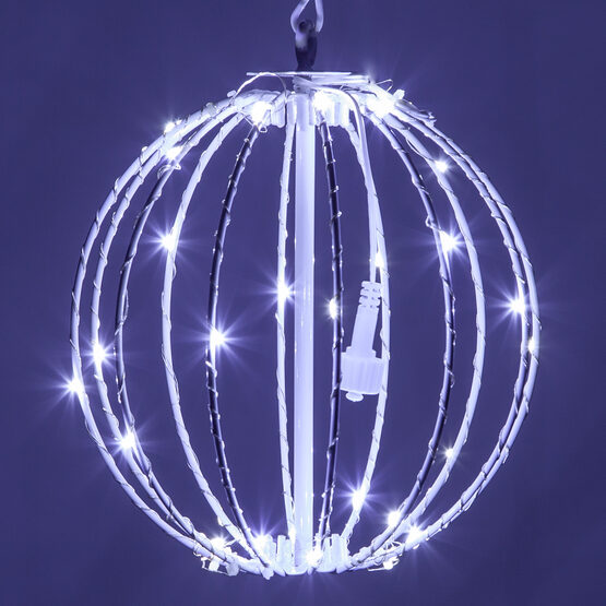 Fairy Light Ball, Fold Flat White Frame, Cool White LED