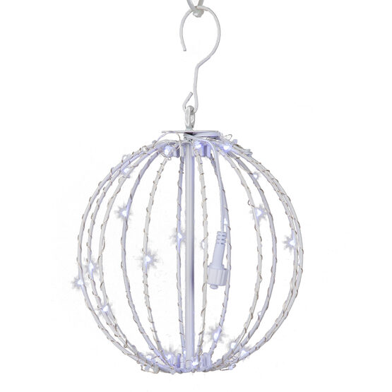 """8"""" Fairy Light Ball, Fold Flat White Frame, Cool White LED"""