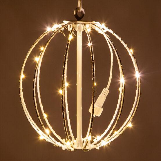 """8"""" Fairy Light Ball, Fold Flat White Frame, Warm White LED"""