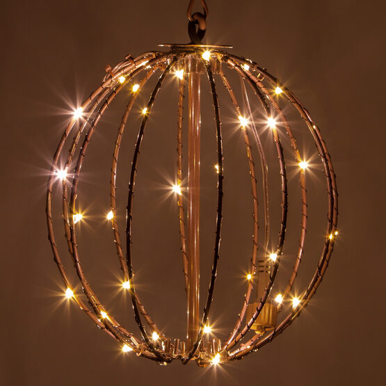 "8"" Fairy Light Ball, Fold Flat Brown Frame, Warm White LED"
