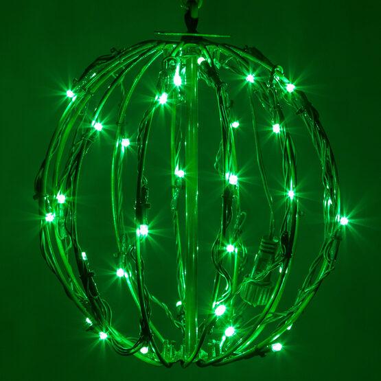 """8"""" Light Ball, Fold Flat Green Frame, Green LED"""